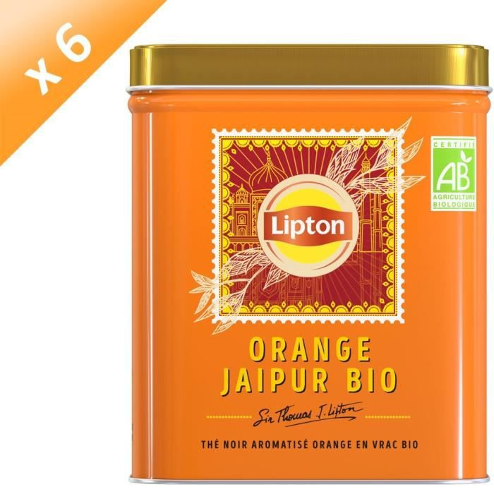LIPTON Thé Noir Bio Orange Jaipur Vrac - Lot de 6x 150 g