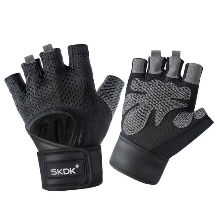 1 paire de gants de sport Gants anti-dérapants à demi-doigts pour la remise en forme, poids et haltères - Taille M