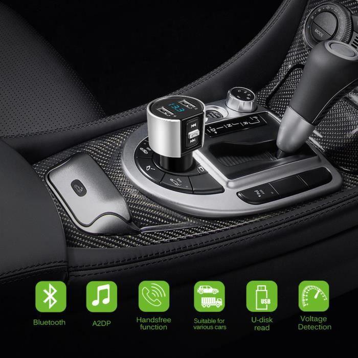 Kit de voiture Bluetooth Lecteur de musique Modulateur de transmetteur FM 3.4A Dual USB Chargeur de voiture Support U Disk Music Pla