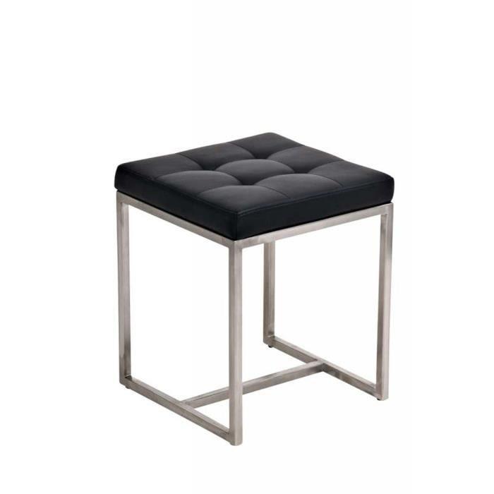 Tabouret bas avec siège en similicuir noir - 48 x 40 x 40 cm