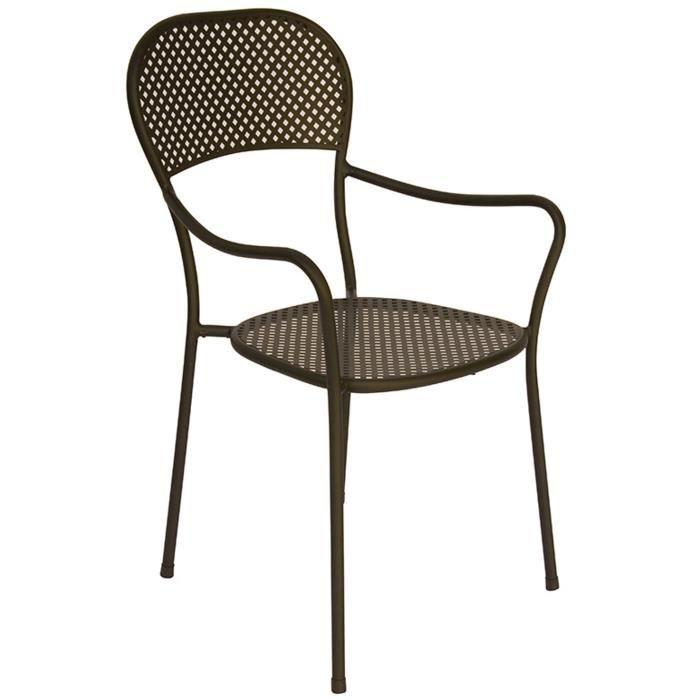 Chaise de jardin en fer forgé coloris gris anthracite - Dim : H 89 x 57 x P 54 cm