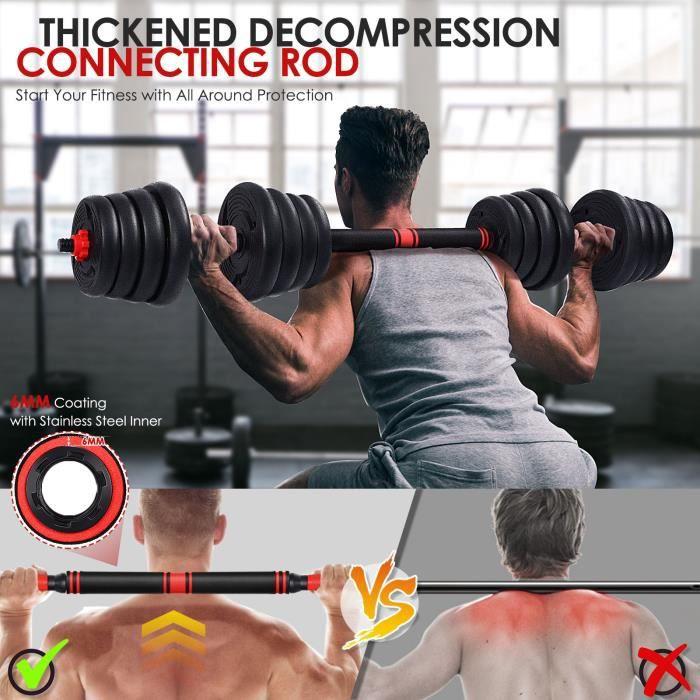 les haltères musculation 30kg réglable et barre 2 en 1