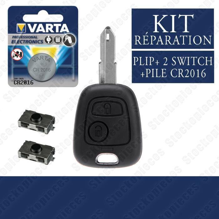 KIT REPARATION CLE COMPATIBLE PEUGEOT 206 206 CC 206 SW 206+ 2 SWITCH BOUTON + PILE VARTA