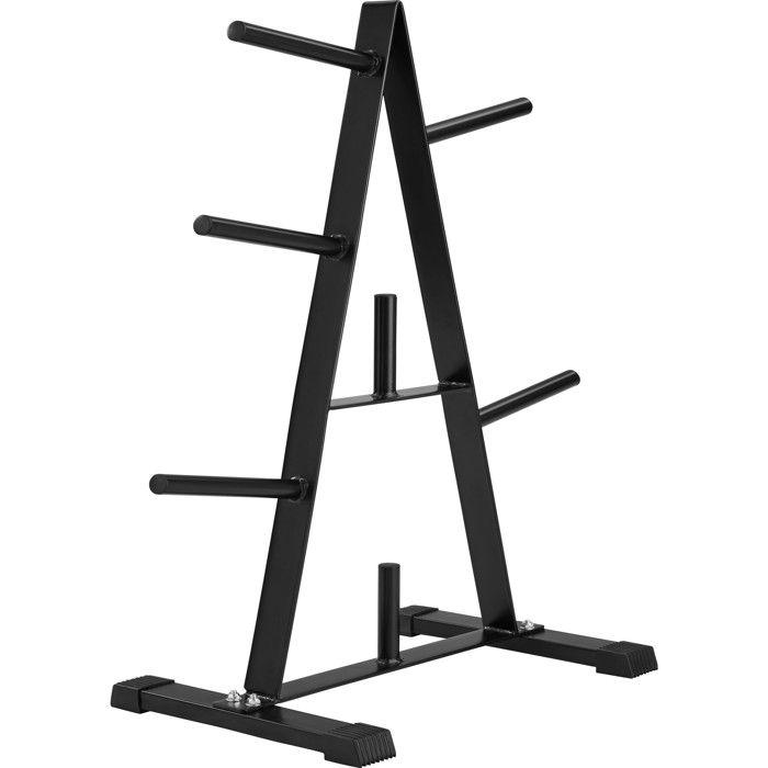 TECTAKE Rack de Rangement pour Poids - 7 Branches - en Acier 67 cm x 38,5 cm x 91 cm