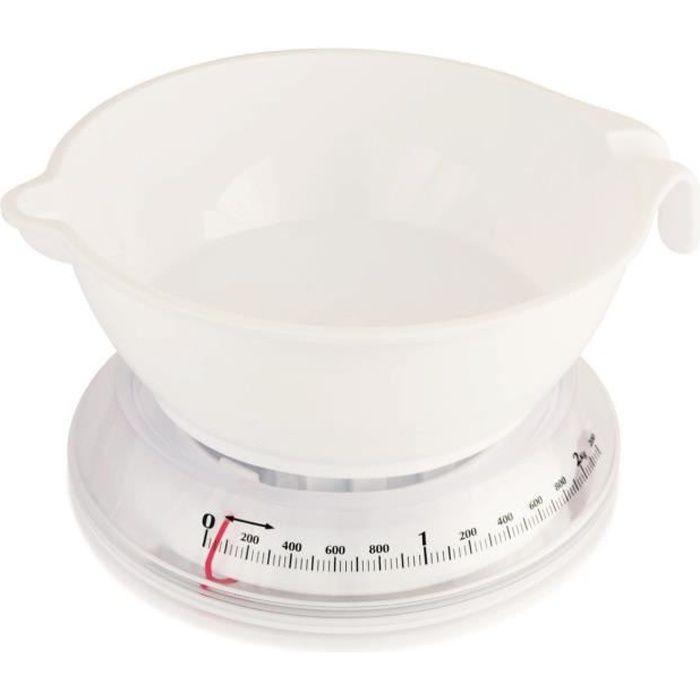 TERRAILLON Balance de cuisine mécanique T206 - 2 kg - Bol 1 L - Blanc