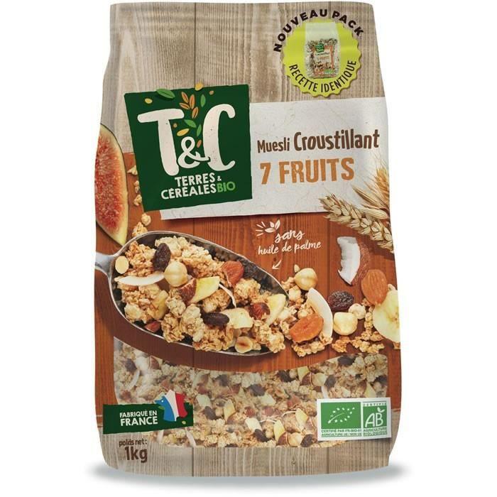 LOT DE 8 - TERRES ET CEREALES : Muesli aux 7 fruits bio 1 kg