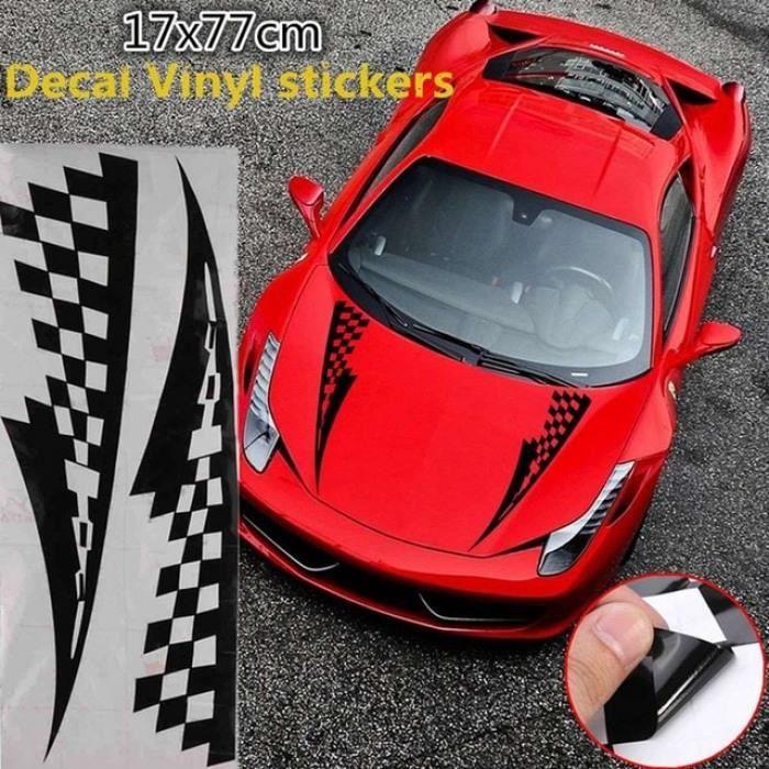 2X autocollant de décalque de vinyle côté voiture course longue bande graphique