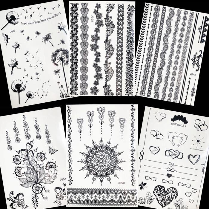6 Morceaux Noir Henné Mandala Fleur Tatouage Autocollants Femmes Corps Art Dessin Temporaire Imperméable Tatouage Filles Bras