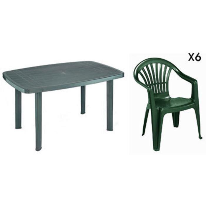 Table rectangulaire verte + 6 fauteuils jardin plastique ...