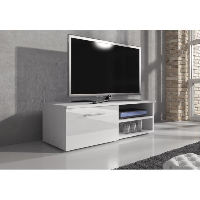 reno meuble tv contemporain d cor blanc 120 cm achat vente meuble tv reno meuble tv. Black Bedroom Furniture Sets. Home Design Ideas
