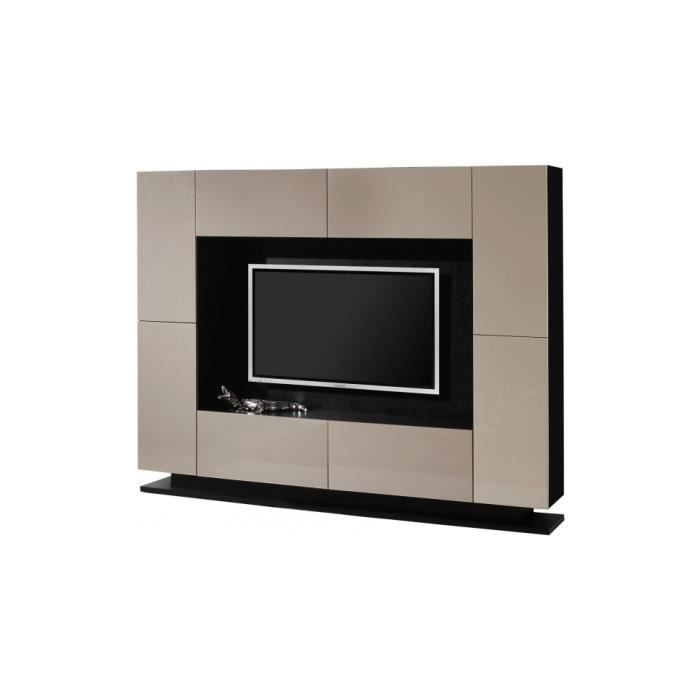 meuble tv design laqu taupe 4 portes 4 tiroirs achat vente meuble tv meuble tv design laqu. Black Bedroom Furniture Sets. Home Design Ideas
