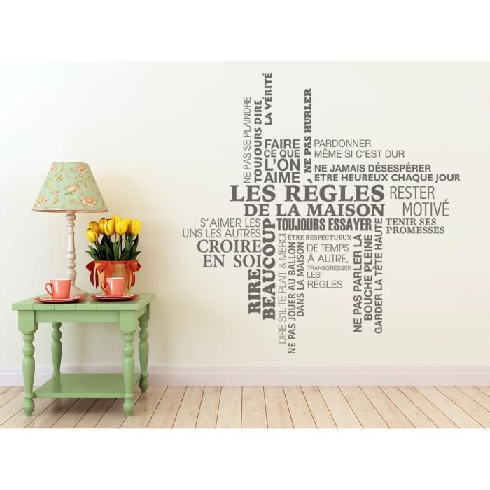 sticker les r gles de la maison tag cloud achat vente stickers cdiscount. Black Bedroom Furniture Sets. Home Design Ideas