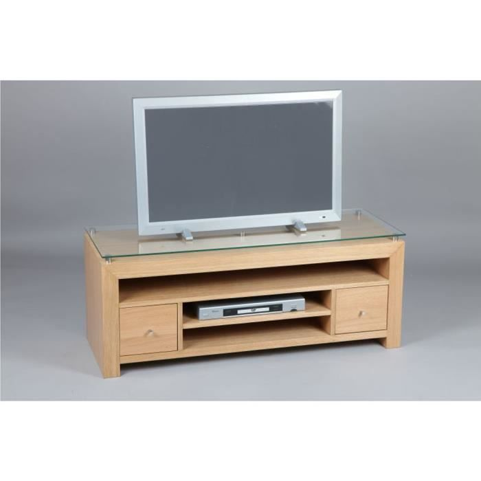 meuble tv en plaqu de ch ne avec tiroir cd dvd achat. Black Bedroom Furniture Sets. Home Design Ideas