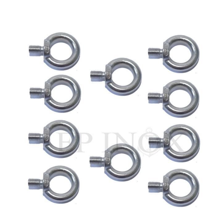 M 10mm inox 316 Ref 3915810X10 Lot de 10 Anneaux tige filetée