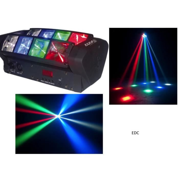 jeu de lumi re led unique barres rang es motoris es 8 leds cree 3w puissants stroboscope dj. Black Bedroom Furniture Sets. Home Design Ideas