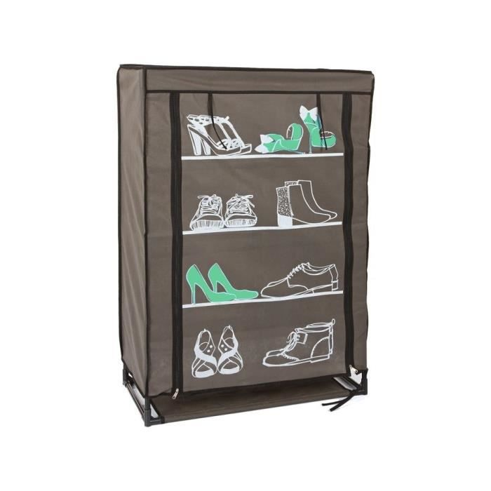 Armoire chaussures metal non tisse decor blanc vert for Armoire chaussures