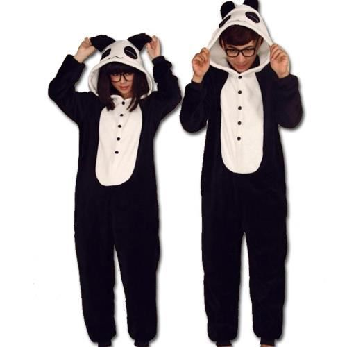 joli kigurumi pyjama panda noir achat vente chemise de nuit cdiscount. Black Bedroom Furniture Sets. Home Design Ideas