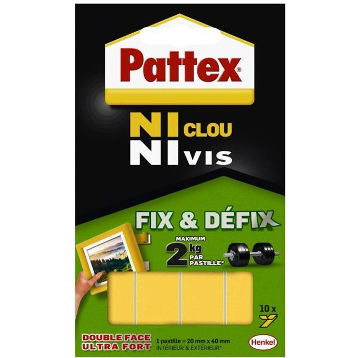 ni clou ni vis pattex pastilles 2 kg blanc achat. Black Bedroom Furniture Sets. Home Design Ideas