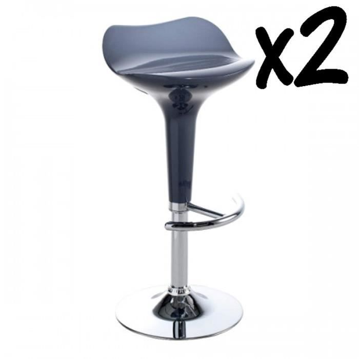Lot De 2 Tabourets De Bar Assise En Plastique Tube Et