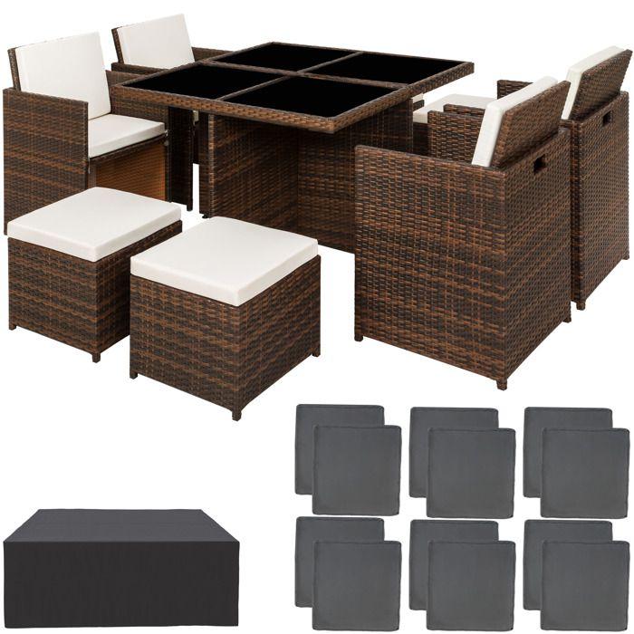 TECTAKE Salon de jardin MANHATTAN - 4 Chaises 4 Tabourets 1 Table en Résine  Tressée structure Aluminium Marron