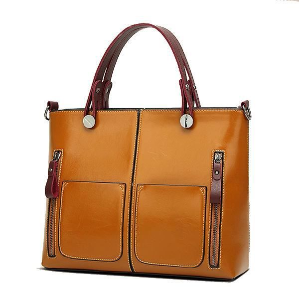 SBBKO4712Women Oil Wax Leather Top Handle Satchel Sac à main Sac bandoulière Messenger Tote BagRouge