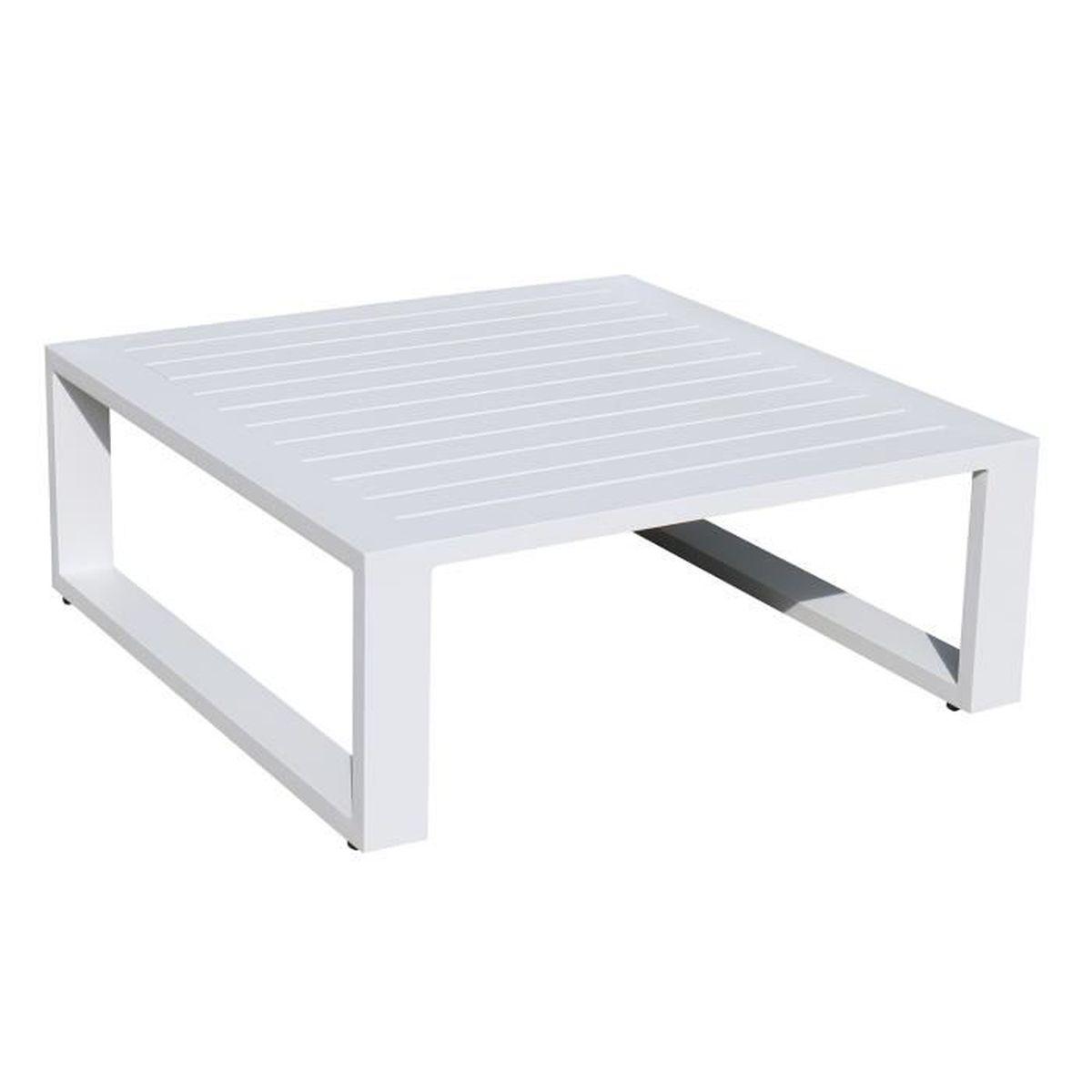 Table basse 6 x 6 en alu blanc Eléra - Achat / Vente table basse