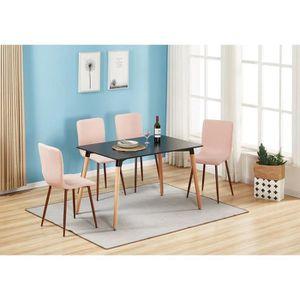 TABLE À MANGER COMPLÈTE Ensemble Table Noire et 4 Chaises Roses - Style De