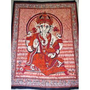 PARURE DE DRAP Tenture en coton ou dessus de lit avec Ganesh de c