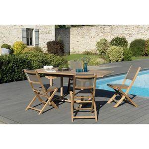 Table de jardin en teck avec 4 chaises