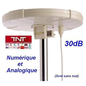ANTENNE RATEAU Antenne TNT HD 30DB Omnidirectionnelle ,camping ca
