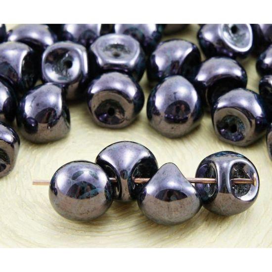12pcs Picasso Champignon Bouton Tchèque Perles De Verre 9 mm x 8 mm