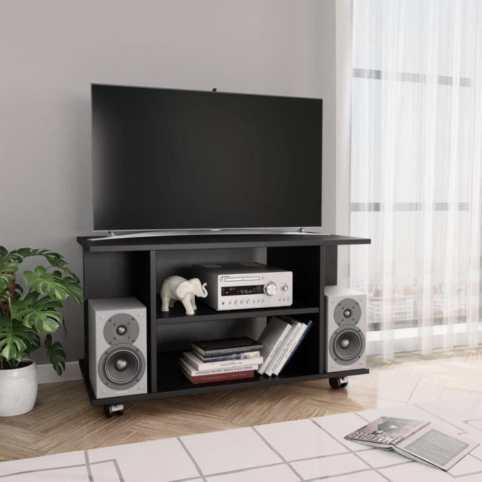 FIHERO Meuble TV avec roulettes Noir 80 x 40 x 40 cm Aggloméré