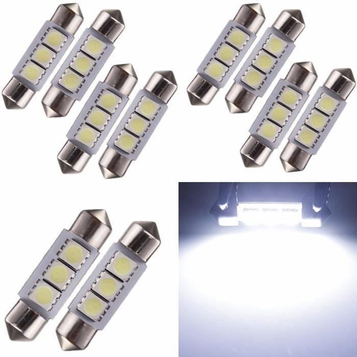 TEMPSA 10x LED Ampoule Voiture Lampe Dome Feston 36mm 3W 3 SMD 5050 Blanc Navette Plaque Feux
