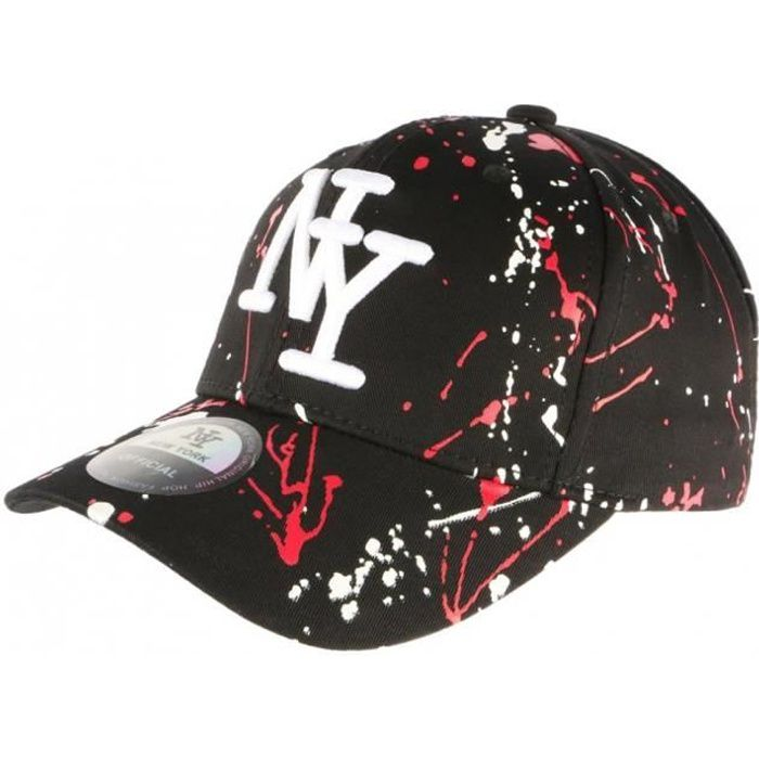 Casquette NY Noire et Rouge Style Tags Streetwear Baseball Paynter - Taille unique - Rouge