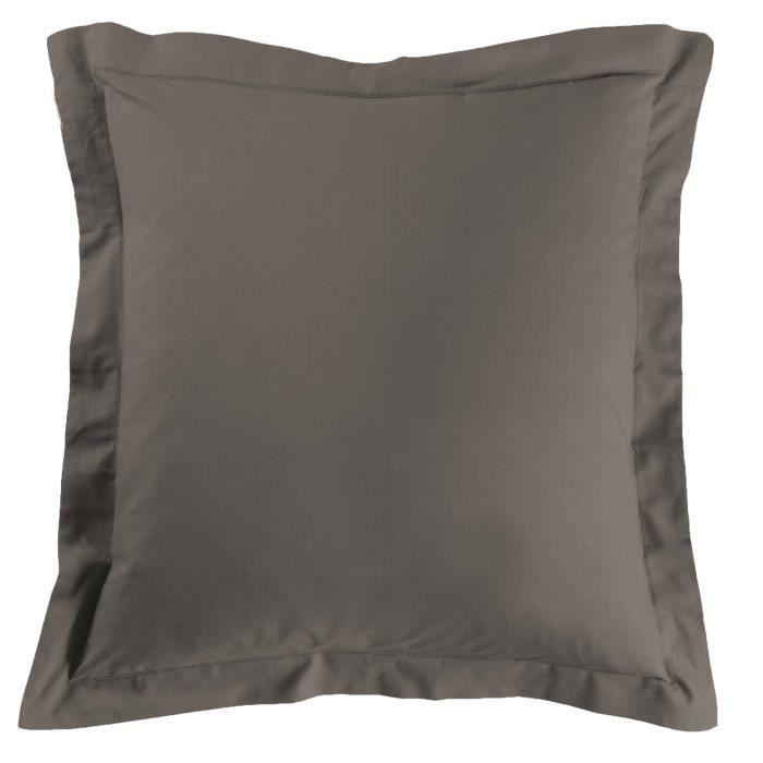 Taie d'oreiller carrée - 63 x 63 cm - 57 fils - Uni (Marron)