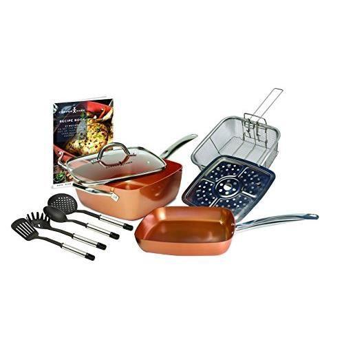 Copper Chef Kit de poêle carrée, Profonde, antiadhésive, Cuivre, 24,1 cm, Large, Cuivre, cuivré, 54 x 30 x 18.5 cm CC10