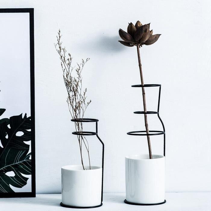 2 pièces Style nordique en céramique fer Art Vase or noir Table Pot de fleur Minimalismt accessoires de décoration pour plante v