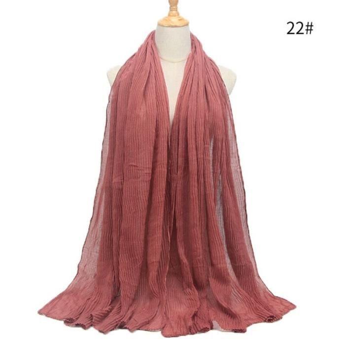 Foulard hijab en coton froissé, écharpe douce, écharpe chaude, écharpe chaude, châle, 25 couleurs, Design hiver, tendanc DY5183