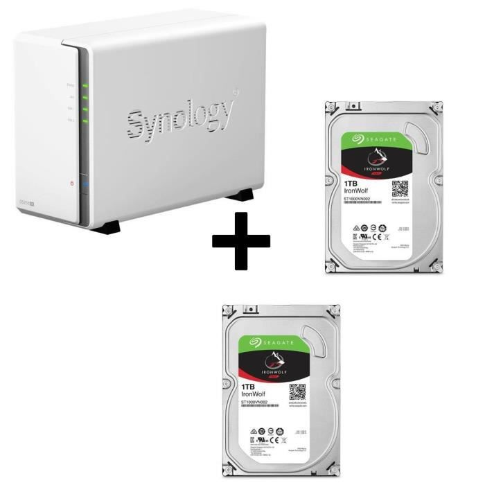 Pack Synology Serveur NAS Diskstation DS216se DS216se + 2 Disques Durs Seagate NAS HDD Iron Wolf 1To 3,5\