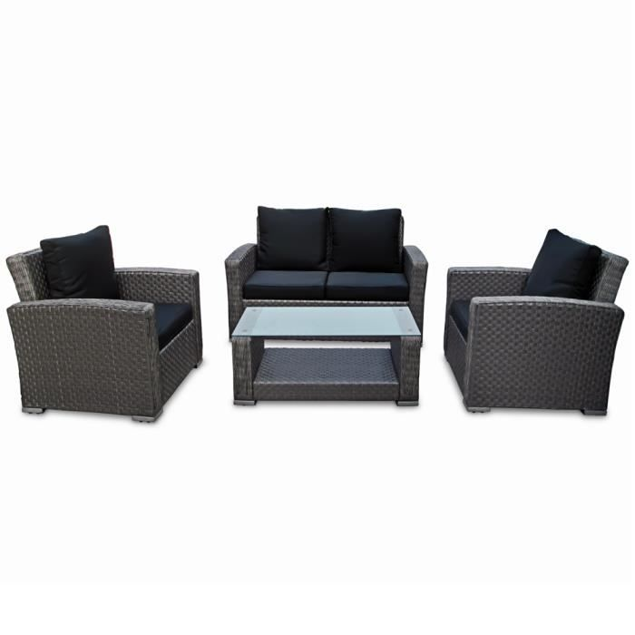 DEUBA - Salon de Jardin en polyrotin et aluminium - Résistant aux intempéries et UV - Gris • Sofa, Lounge, fauteuils, canapé