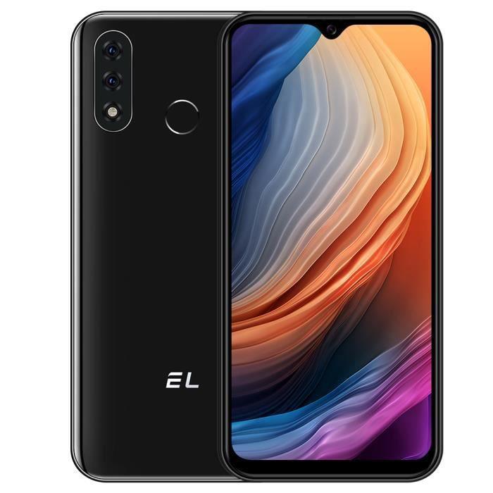 Smartphone 4G pas cher EL-D60 Pro téléphone portable Triple-C 13MP+8MP 4080mAh HD 6.1- Écran Android10.0 Noir