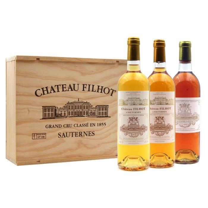 Coffret Collection Filhot 1970, 1997, 2007 Vin Blanc 75cl AOC Sauternes