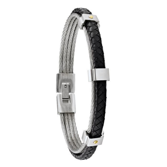 Jourdan Bijoux - Bracelet homme - HB034H - Câbles gris - Cuir noir