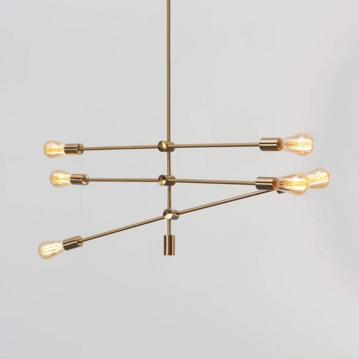 Suspension laiton dorée à trois barres métalliques - Sagitta KOSILUM - IP20 - Classe énergétique : Compatible avec A, B, C, D, E -