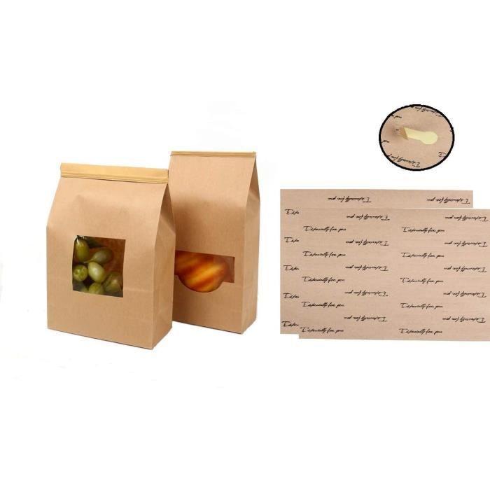 40 Sacs en Papier Kraft de qualité Alimentaire avec Rabat de Fermeture, Sac d'emballage biodégradable pour Bonbons,Patisserie