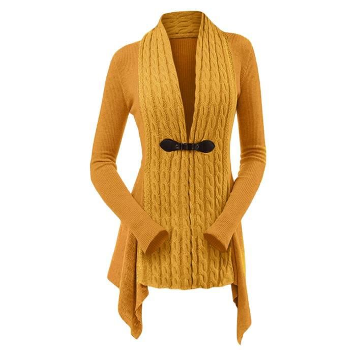 Col V Gilet Tricot Femme Cardigan Asymetrique À Manches Longues Casual Chandail Vêtements Jaune