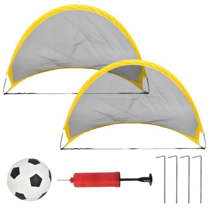 1 jeu de mini porte d'entraînement pliante pour de football avec gonfleur de clou en fer pour jardin BALLON DE FOOTBALL