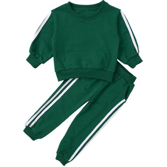 dPois Enfants Ensemble Vêtements de Sport Garçons Filles Sweat-Shirts Survêtement Pantalon de Sport Fitness Tenue 18 Mois-8 Ans