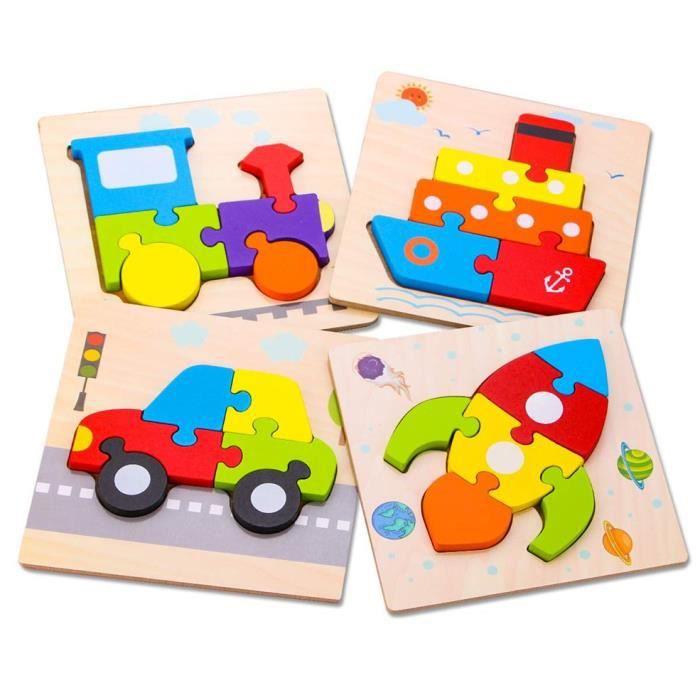 4Pcs Jouets De Construction Blocs D'Assemblage En Bois Pour Enfants Jouets Éducatifs De Transport Couleurs Vives