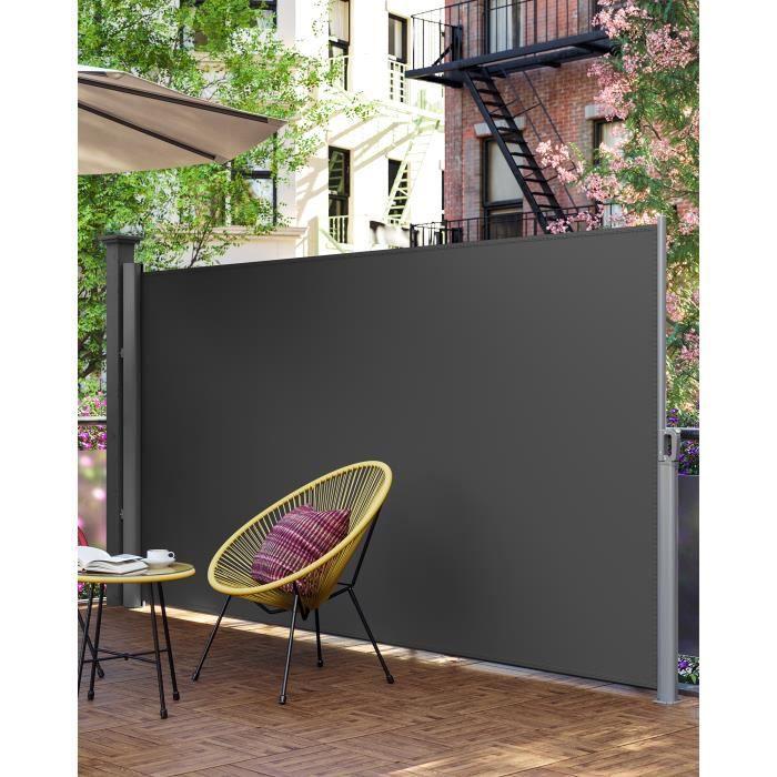 Paravent extérieur rétractable, 400 x 180 cm(L x H), toile en polyester de 280 g-m², Gris, GSA184G, SONGMICS